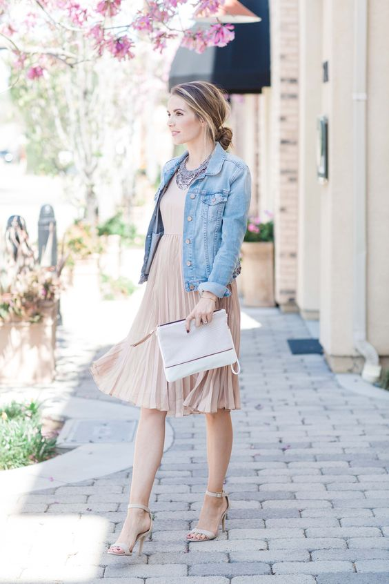 a blush pleated dress, a chambray jacket and nude heels