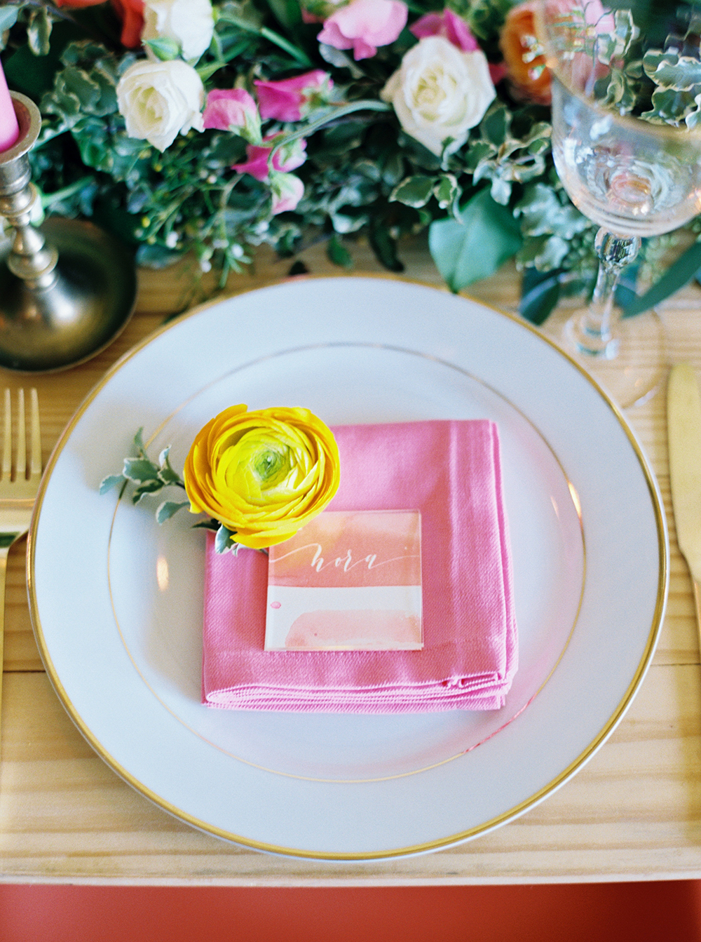 spring wedding tables - photo by Jessica Gold Photography http://ruffledblog.com/vibrant-summer-wedding-inspiration-with-fun-colors