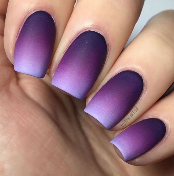 ombre matte nails from bold purple into very light lavender