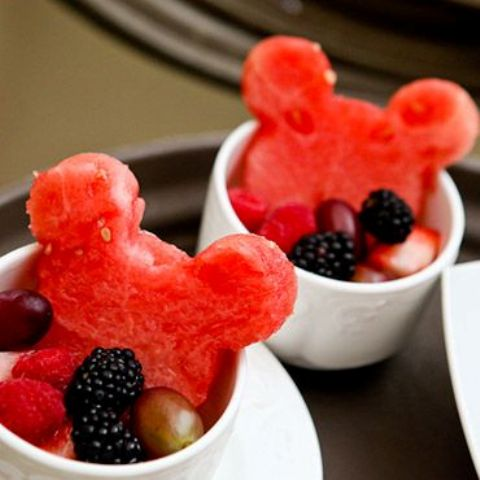 delight your guests with Mickey shaped watermelons and berries