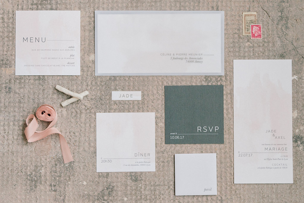 wedding stationery - photo by Julien Bonjour Photographe http://ruffledblog.com/airy-industrial-wedding-inspiration-for-spring