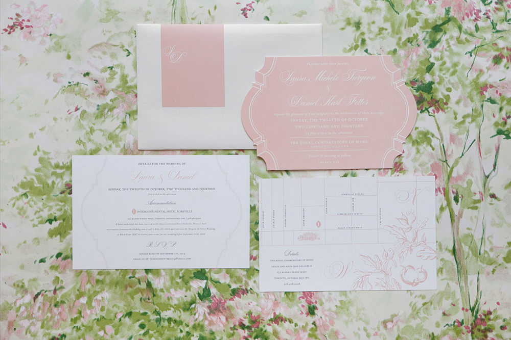 pink and white wedding invitations - photo by 5ive15ifteen http://ruffledblog.com/elegant-wedding-at-the-toronto-royal-conservatory-of-music