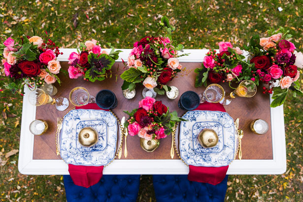 Gold and blue wedding table-scape - Cimbalik Photography