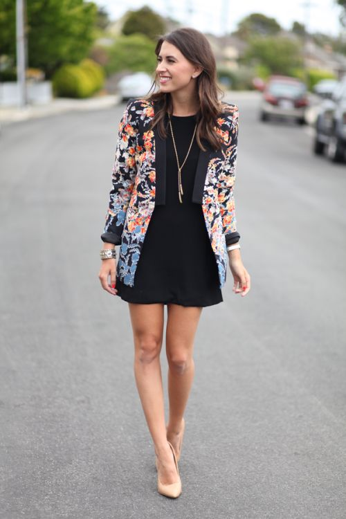 a little black dress, a floral blazer and nude heels