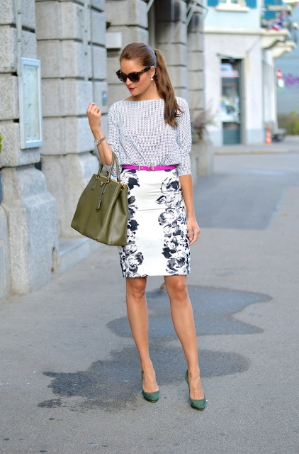 With printed shirt, purple belt, pencil skirt and olive green bag