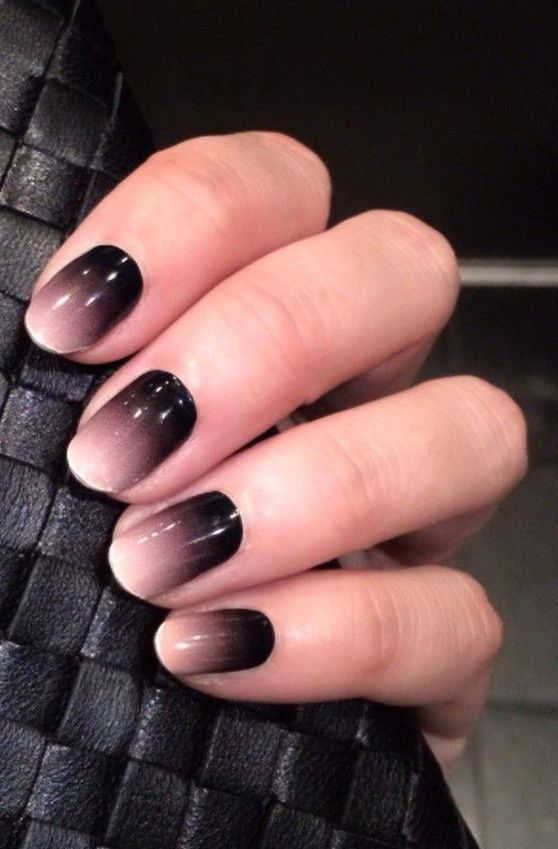 black into chocolate brown and white ombre nails