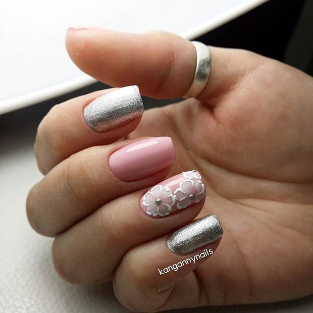 Pink and Silver Metallic Nail Art Design for Prom