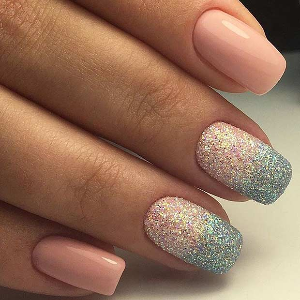 Pink and Sugar Glitter Ombre Nails for Prom