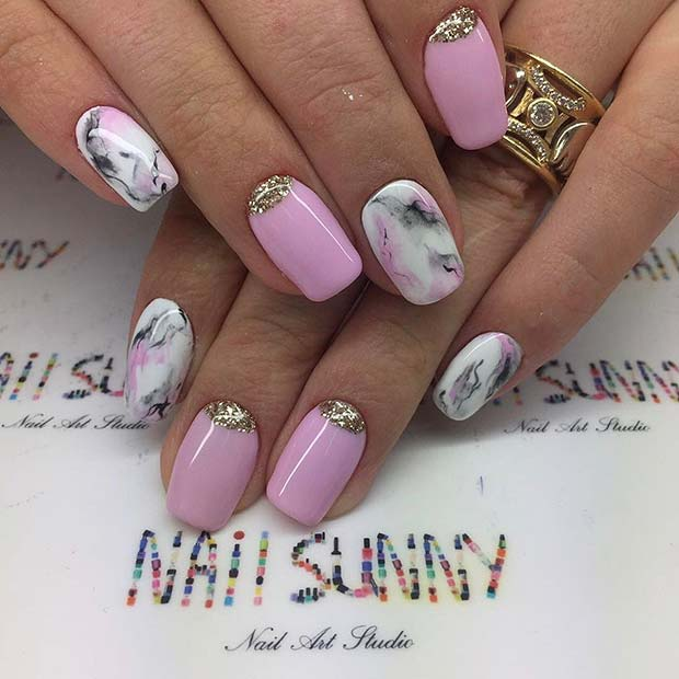 Pink Marble Nail Art Design for Prom