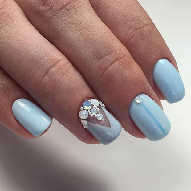 Pastel Blue Nail Art Design with Rhinestones