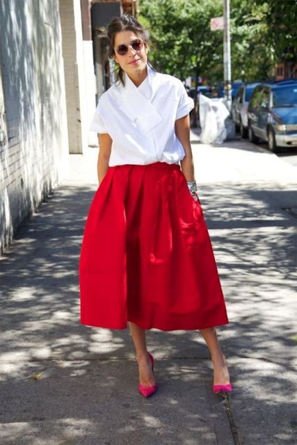 With white blouse and hot pink pumps