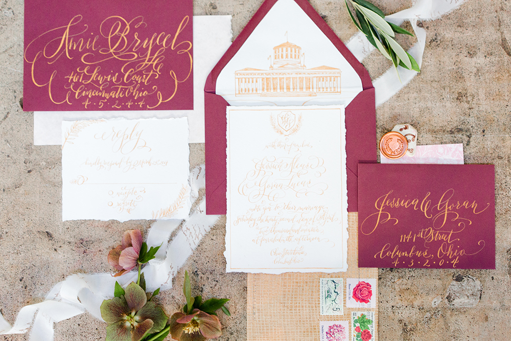 wedding stationery - photo by Lauren Lee Photography http://ruffledblog.com/modern-grecian-inspired-wedding-ideas