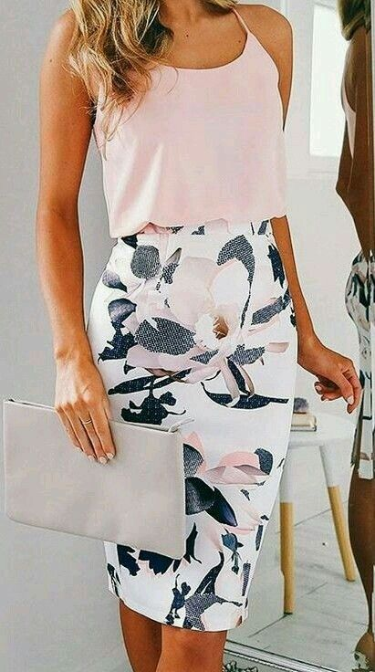 a floral knee pencil skirt and a blush top on spaghetti straps