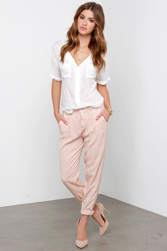 a white shirt, blush cuffed pants and nude heels