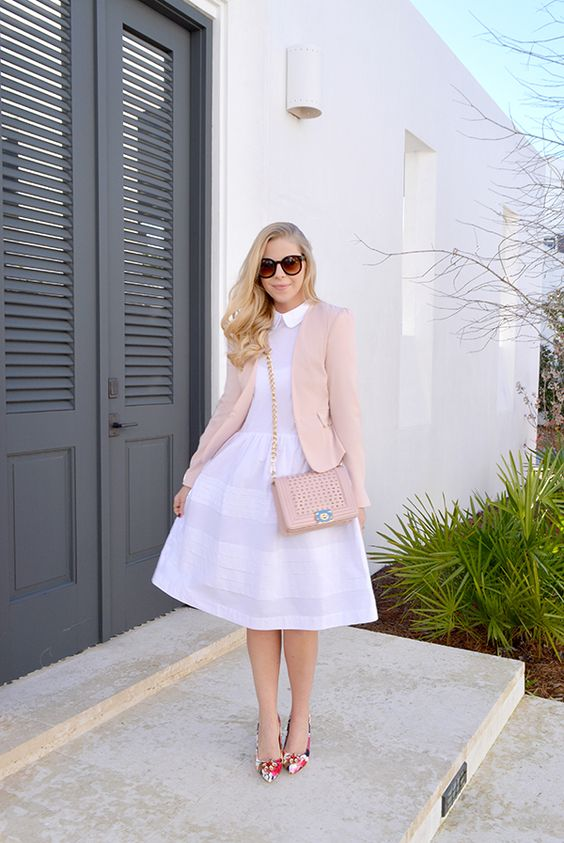 a white midi dress, floral heels and a blush blazer and bag
