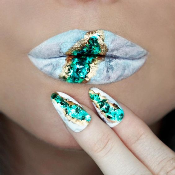 geode lip art and matching emerald nails