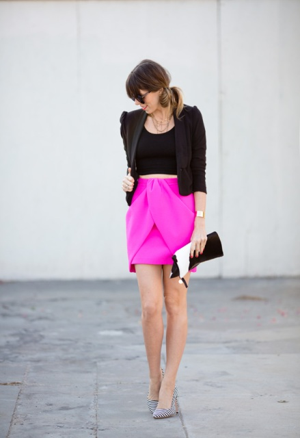With black top, black crop blazer, striped shoes and black and white clutch
