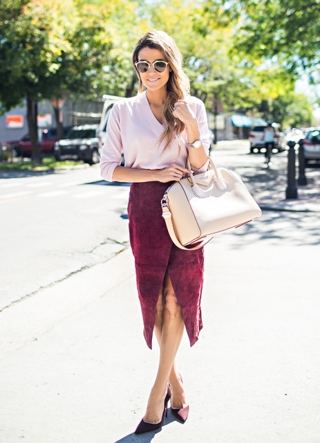 With light pink blouse, marsala pumps and pastel color bag