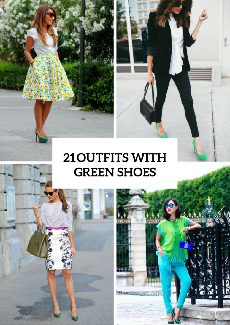Beautiful Women Outfits With Green Shoes