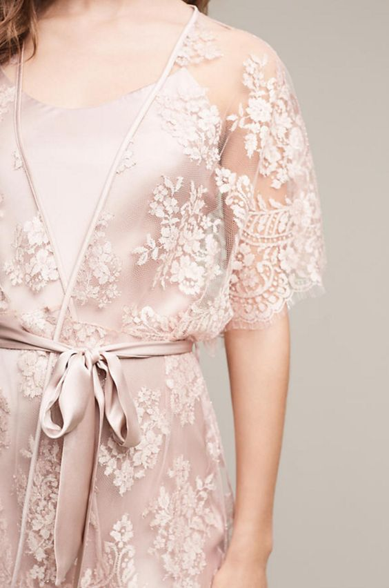 a blush slik night gown and a lace kimono over it