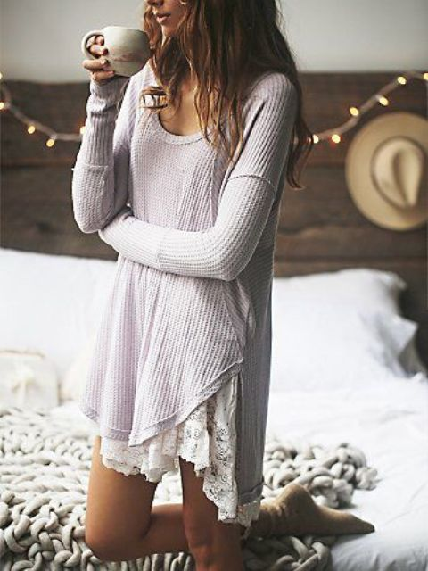 a crochet dress with a lace trim looks boho and feels relaxed