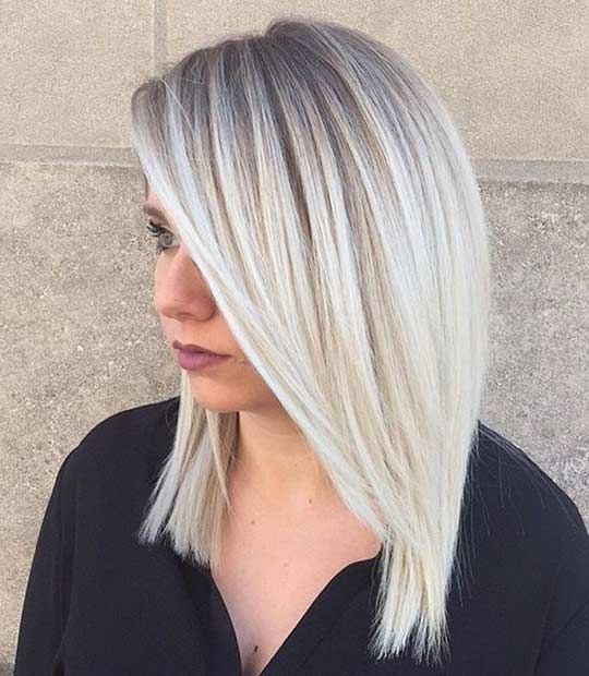 icy blonde ombre from darker roots