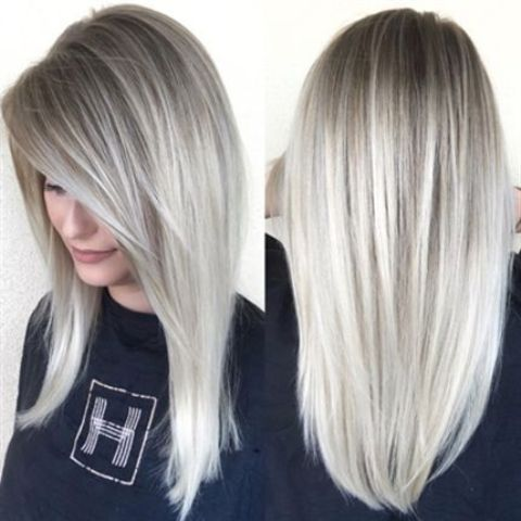 ombre hair from darker roots to icy blonde