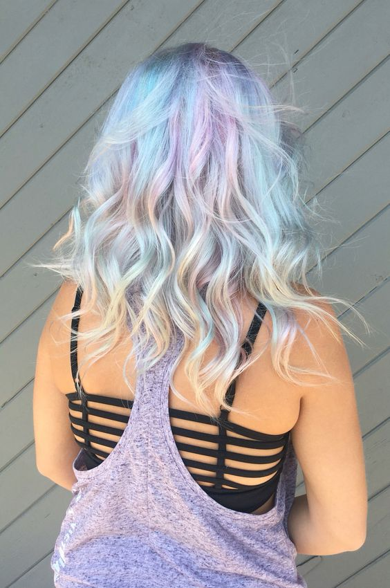 light blue hair with shades of green and lavender
