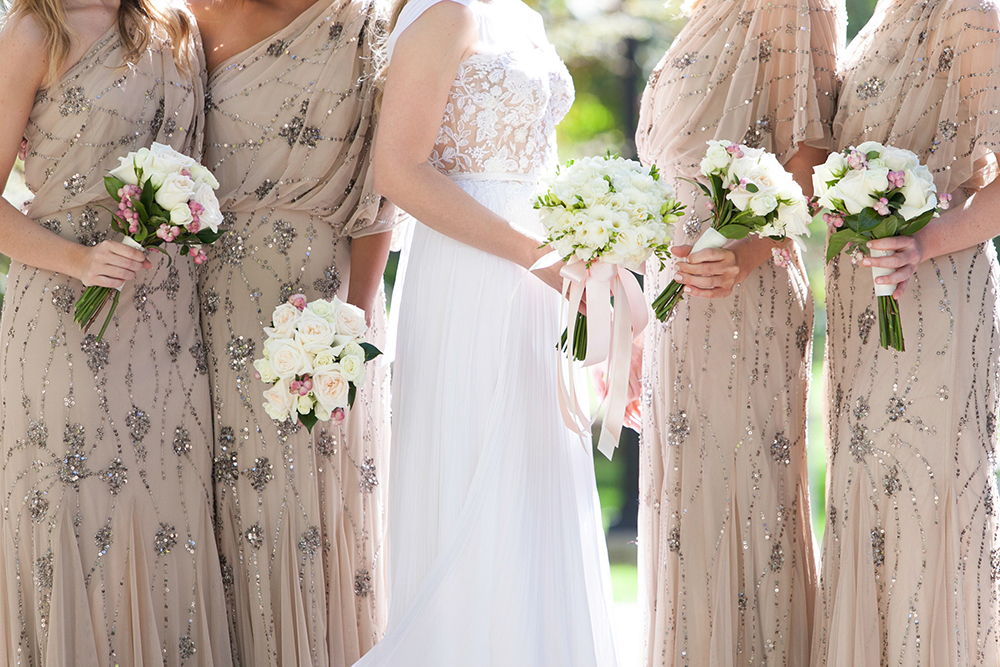 patterned bridesmaid dresses - photo by 5ive15ifteen http://ruffledblog.com/elegant-wedding-at-the-toronto-royal-conservatory-of-music
