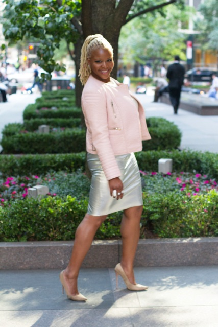 With metallic pencil skirt and neutral color pumps