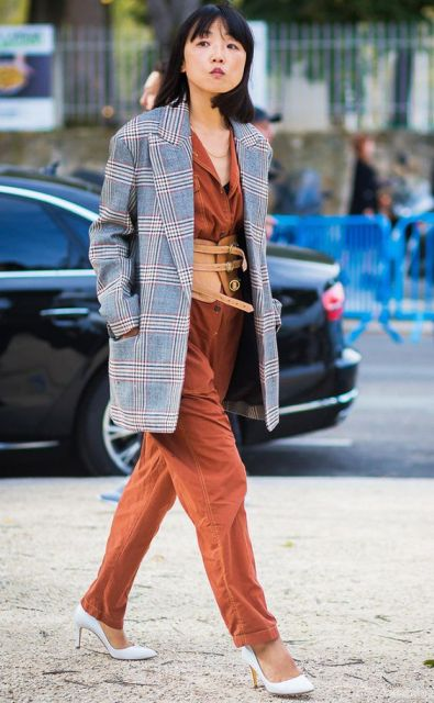 With orange jumpsuit, checked long blazer and white pumps