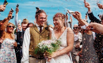 This wedding was medieval, with archery and snail racing and a lot of DIYs made by the couple