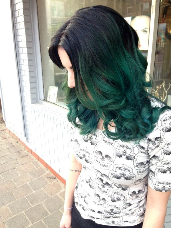 black hair with emerald ombre looks very bold