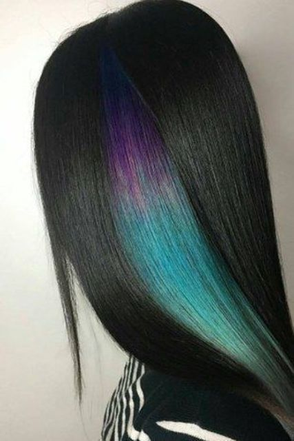 straight black hair with a purple to green part