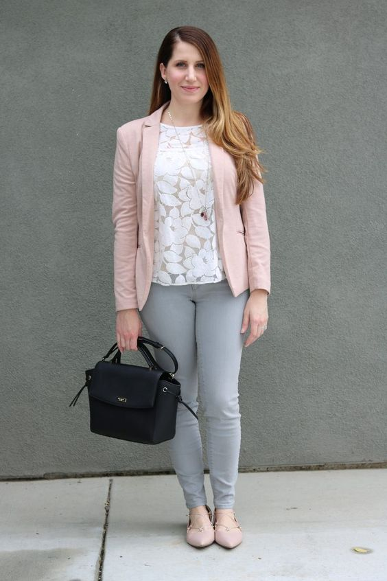 grey jeans, a floral white lace top, a blush blazer and lace up flats