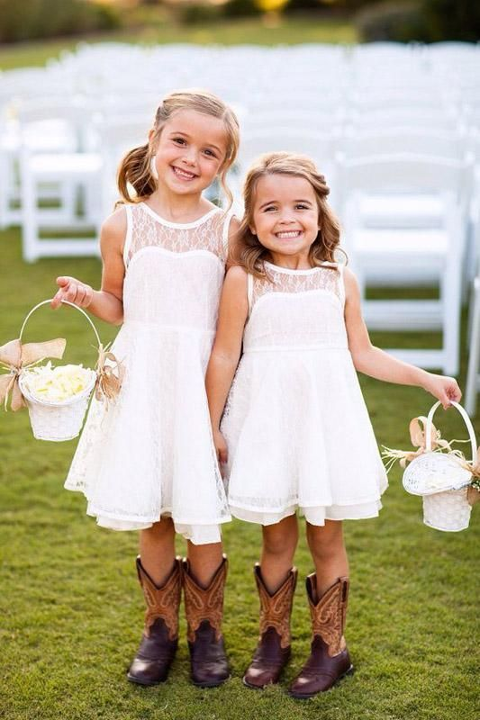 lace sleeveless illusion neckline ivory knee dresses and cowboy boots for a rustic wedding