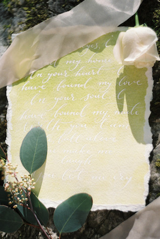 Green watercolor and white calligraphy wedding invite | Svetlana Cozlitina Photography