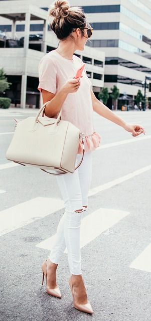 white ripped jeans, a blush ruffle top and nude shoes