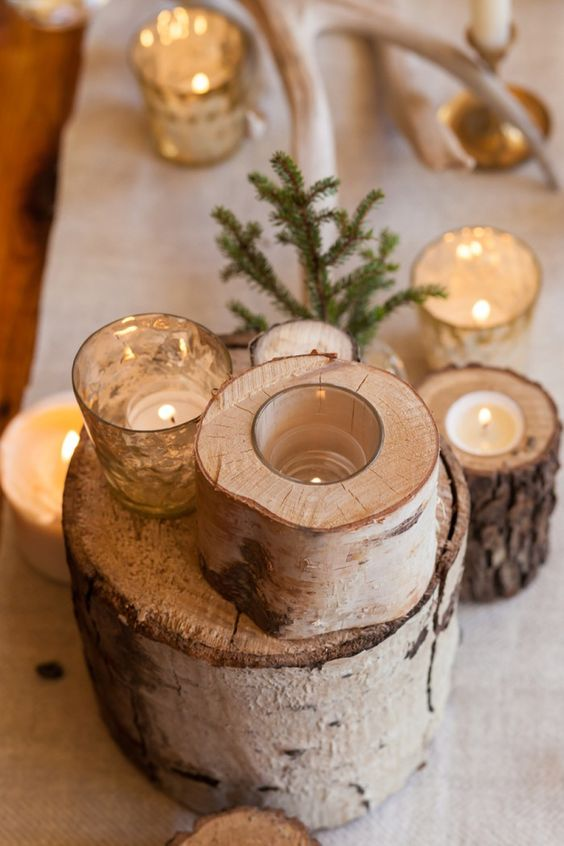 birch logs used for centerpieces and as candle holders