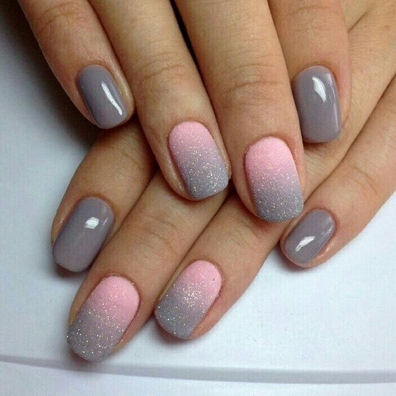 grey nails and pink into grey ombre glitter matte nails
