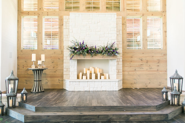 Candles in fireplace | Amanda Jameson Photography