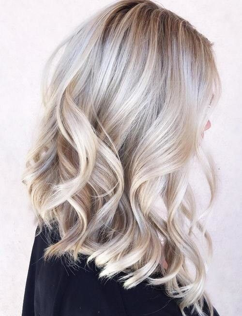 silver grey highlights on blonde hair, waves