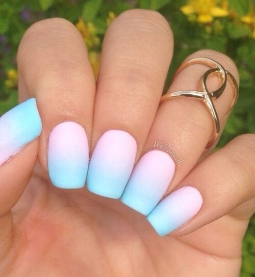 bold neon nails from pink into blue