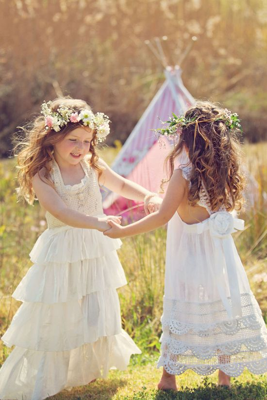 crochet lace and ruffle dresses with floral crowns for a boho wedding