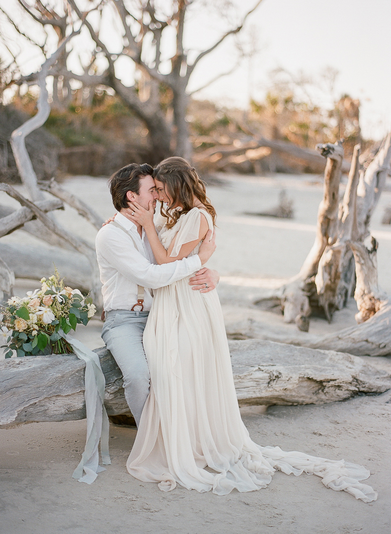 Intimate Wedding Inspiration on Driftwood Beach - photo by The Ganeys http://ruffledblog.com/intimate-wedding-inspiration-on-driftwood-beach