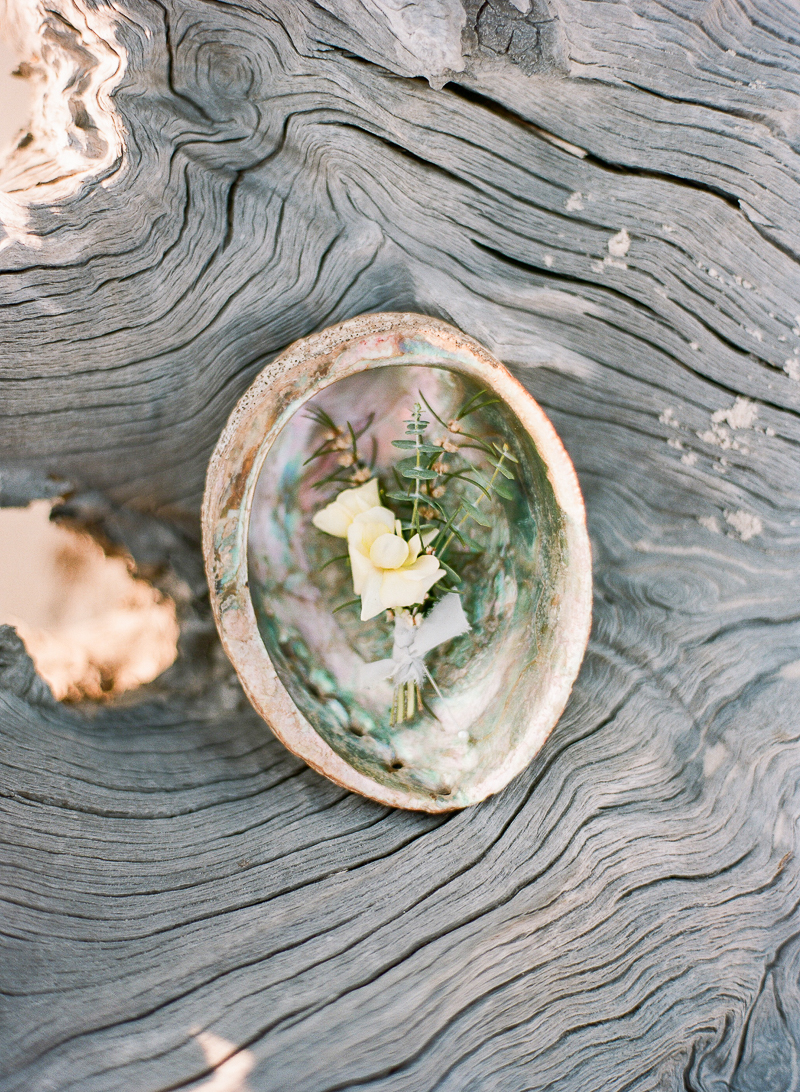 beach wedding boutonniere - photo by The Ganeys http://ruffledblog.com/intimate-wedding-inspiration-on-driftwood-beach