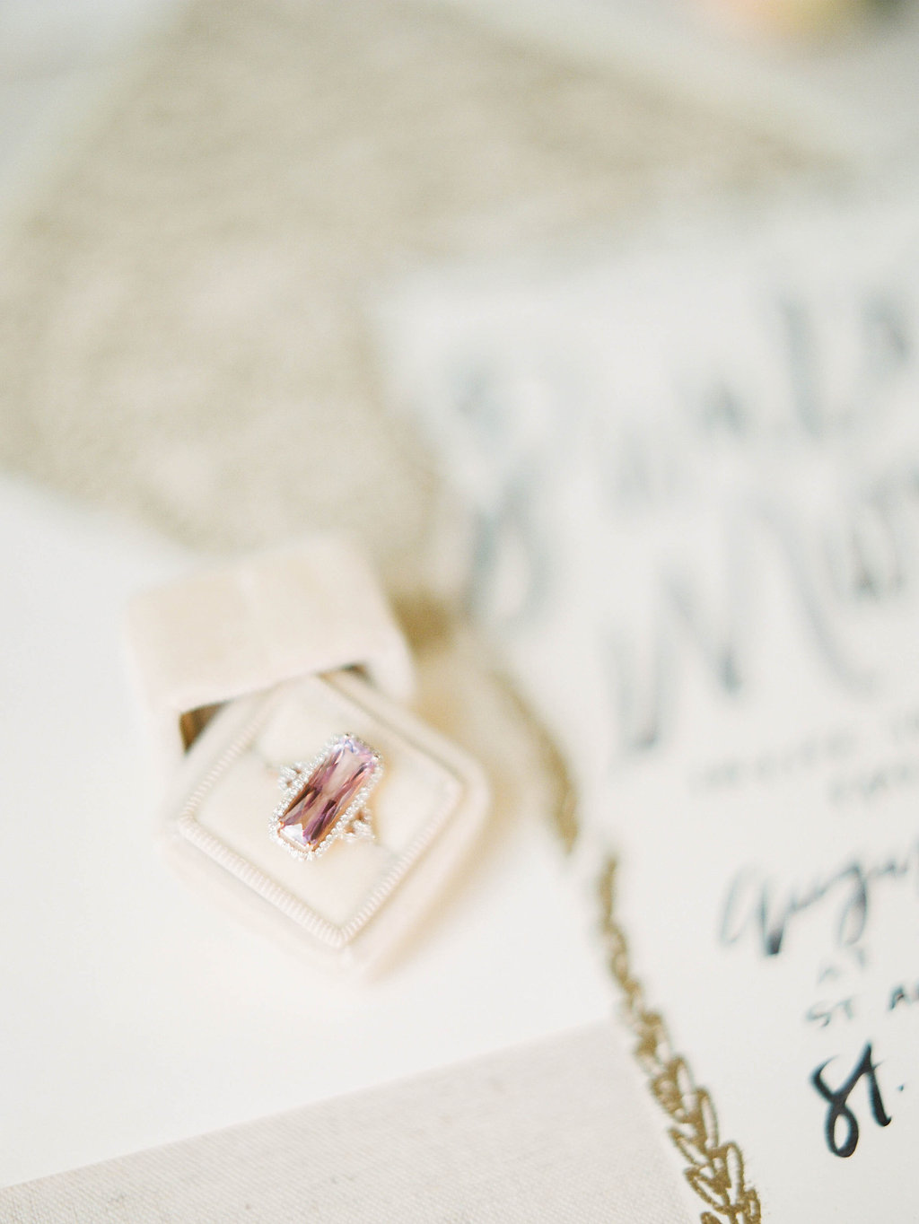 pink engagement rings - photo by Shannon Duggan Photography http://ruffledblog.com/elegant-chateau-wedding-inspiration-in-st-louis