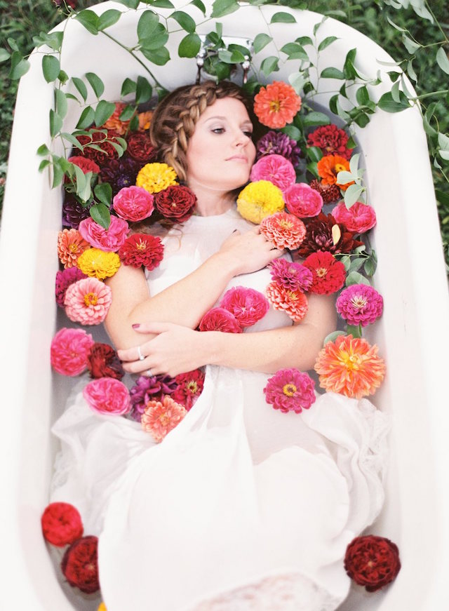 Bathtub filled with flowers | Lauren Gabrielle Photography