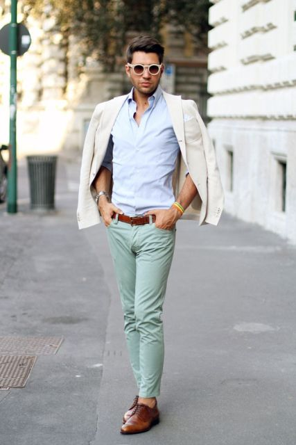 With shirt, white jacket and brown belt and shoes