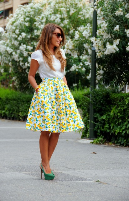 With white blouse and colorful A-line skirt
